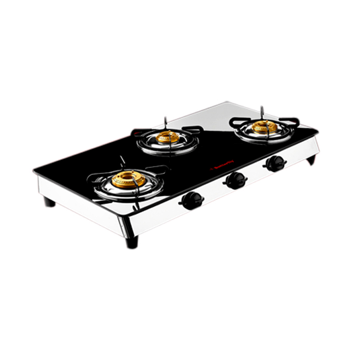 Butterfly 3 Burner-reflection Glass Cooktop Auto Ignition