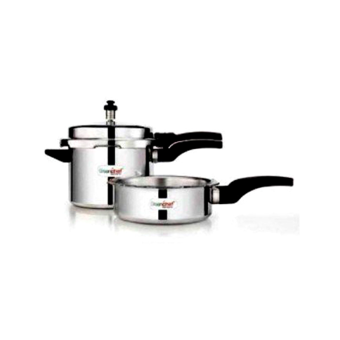 Greenchef 5 Ltr Pressure Cooker+junior Pan Combo