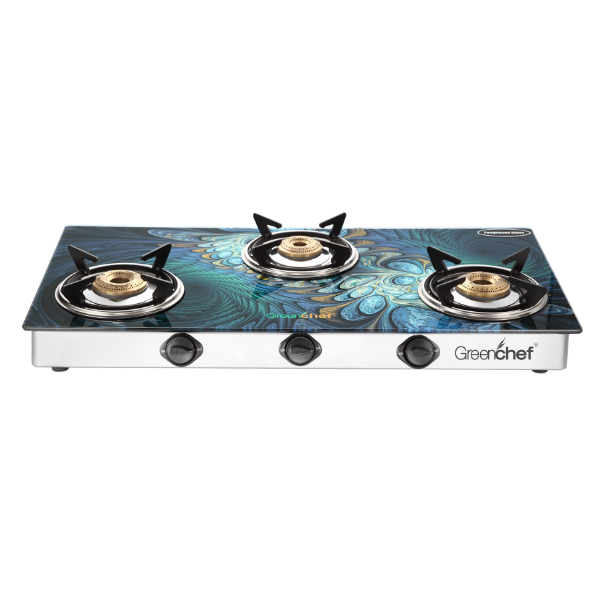 Greenchef Glasstop Peacock 3 Burner