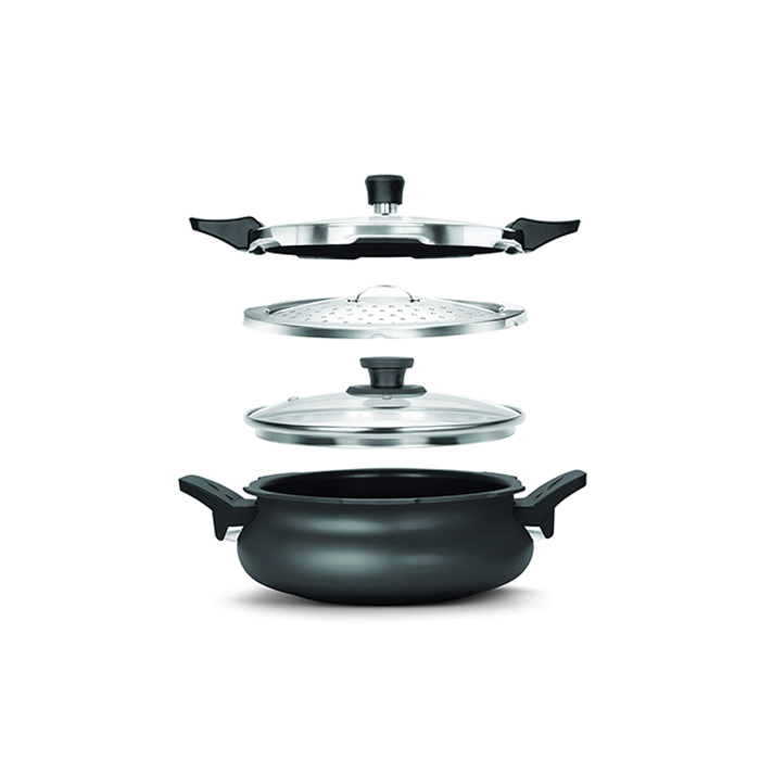 Pigeon Pressure Cooker All In One Hard Anodised Black 3L