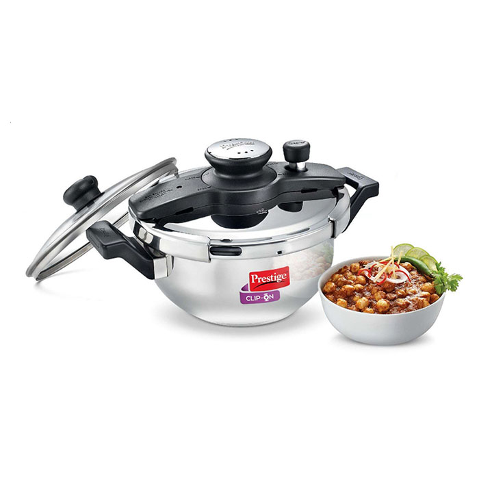 Prestige  Clip-on Stainless Steel Pressure Cooker Kadai